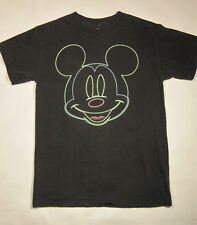 Disney Neon Mickey Mouse Graphic T-Shirt Disneyland Small Tee Top Faded Black A1