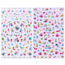 2 Sheets 3D Nail Stickers Heart Cross Toucan Flower Nail Art Transfer Decals DIY