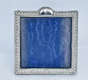Antique 1904 Sterling Silver Photo Frame - Repousse Fluted/Dots (Photo 11x11cm)