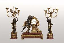Garniture de cheminée Napoléon III bronze par Alfred Emmanuel Louis BEURDELEY
