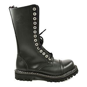 Angry Itch - 14 Loch SZ Side Zip Reißverschluss Stiefel Rangers Schwarz Made in