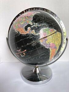 "Vintage Replogle 12"" Starlight Black Globe Brueckman Chrome Base w Full Meridian"