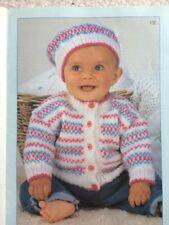 "KNITTING PATTERN  - Baby Toddler Fairisle Cardigan & Hat/DK & 4 Ply/chest 16-22"""