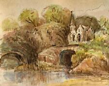 LANDSCAPE NEAR ALASSIO RIVIERA ITALY Watercolour Painting c1880 IMPRESSIONIST