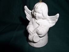 GOEBEL WHITE ANGEL BELL,1980 5TH EDITION ANNUAL CHRISTMAS ORNAMENT, HORN, W/BOX