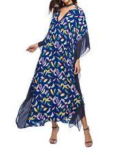 Plus Size Long Maxi Dress Navy Blue Feather Print  Kaftan Size 14-16-18-20