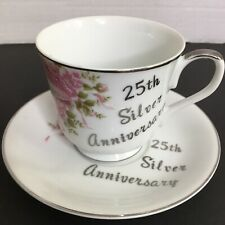 25th Silver Anniversary Cup & Saucer Pink Flowers Wedding Bells
