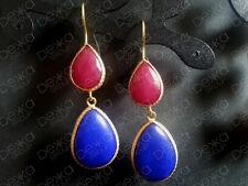 Gold Jade Gemstones Teardrop Earrings Turkish Ottoman Bronze Tear Drop