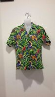 NWT Caribbean Lattitudes Mens sz M All Over Print Hawaiian Shirt Green Blue