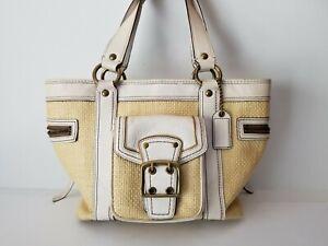 COACH Legacy Natural Straw White Leather Tote Shoulder Handbag M05K-113