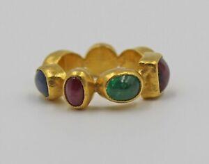 Gurhan Pointelle Ring One-of-a-Kind All Around Multi-Gemstone 24K Gold Sz 3.5