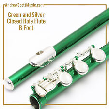 Flute - Green and Silver with B Footjoint - Masterpiece - 12 Month Warranty