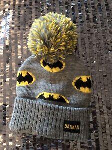 Toddler Boys Batman DC Comics Bobble Hat Yellow Grey Black 0-6 Months