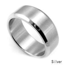 8 mm acero inoxidable anillo titanio plata negro oro hombres SZ 17 a 22 boda