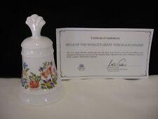 "5 1/2"" Aynsley White Porcelain Floral Design Bell by Danbury Mint w/Coa (F19)"