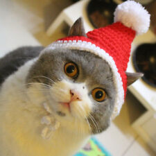Pet Kitten Cat Father Christmas Red Woolen Cap Knitted Cosplay Hat Holiday Party