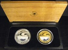 2007 Australia 2 Piece Gold Silver Coin Set with Sapphires**FREE U.S. SHIPPING**