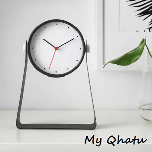 """IKEA GNISSLA Table Clock 5"""" Black 10"""" Tall Stand Battery Operated New"""