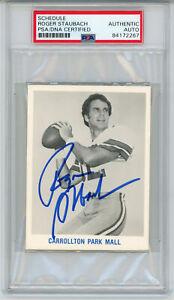 Roger Staubach Autographed Dallas Cowboys 1982 Schedule Card PSA Slab 32630