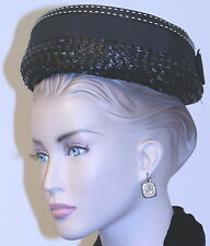 vintage LADIES woman's HAT 1940 BLK STRAW UNION LABEL CONTRAST RIBBON HATPIN