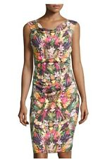 2 NICOLE MILLER Stretch Linen Blend Tropical Fruit Ruched Sheath Dress NWT $355