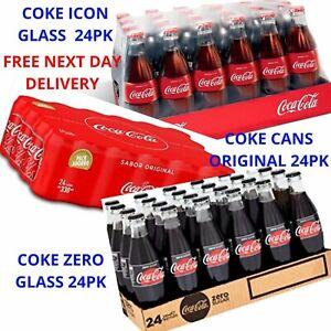 Coca Cola Glass Bottle Coke Zero,Coke original cans 24pk *Free next day delivery