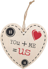 You Me US Heart Wooden Hanging Sign Wall Plaque Shabby Chic Gift Homeware