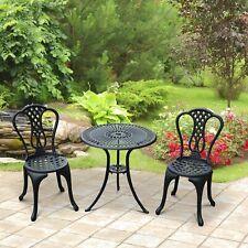 3pcs Café Bistro Set Patio Table Chair Garden Aluminum Black
