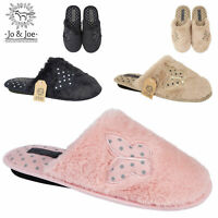 WOMENS LADIES HOUSE BEDROOM BUTTERFLY WINTER WARM SLIP ON MULE  SLIPPERS SHOES