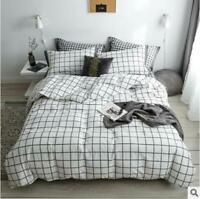 3D White Grid ZHUA2201 Bed Pillowcases Quilt Duvet Cover Set Queen King Zoe