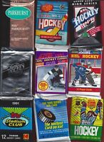 Hockey 128 card lot 28 to 25 years old still in the packs inc. 7 SUPERSTAR cards