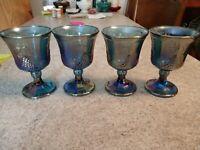Indiana Glass 4 Iridescent Blue Carnival Harvest Grape 8 oz Goblets
