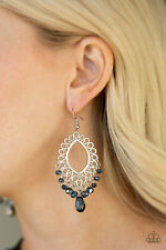 Paparazzi jewelry metallic blue beading frilly silver frame earrings