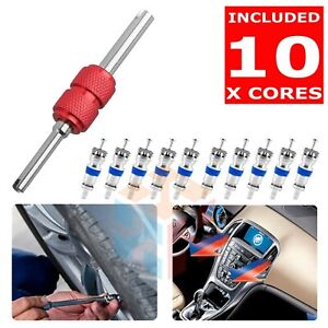 Valve Core Removal Tool + 10 Hvac Schrader Valves <DURABLE HIGH-QUALITY CORES>