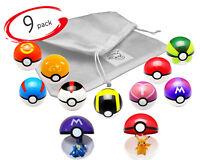 9 pcs Pokemon Balls Pokeballs + 9 Figures Pop Toys Action Figure Pikachu USA