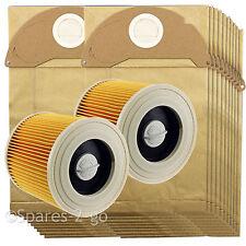 2 Cartridge Filters + 20 Dust Bags fits Karcher Wet & Dry WD2200 WD2240 Vacuum
