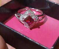 Avon Sterling Silver Garnet Ring Size 10