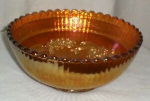 Vintage Imperial Glass Marigold Carnival Wind Mill Pattern Berry Bowl