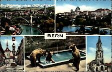 Bern Schweiz Mehrbildkarte ~1950/60 Bären Kirche Stadtansichten u.a. ungelaufen