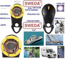 "SWEDA BOUSSOLE PORTABLE ROSE 1"" lumière LED+VERRE+HORLOGE LCD BATEAU canoë KAYAK"