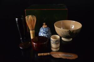P3603: Japanese Wooden Lacquer ware TEA CEREMONY SET Tea Bowl Tea Whisk Chasen