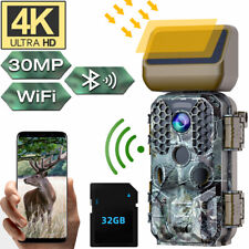 Campark 4K 30MP WiFi Trail Caméra Bluetooth Hunting Game Cam +Solar Panels 32GSD