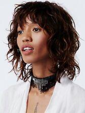 Free People Lacey Lace Embellished Choker Black Sliver-tone Hardware $38