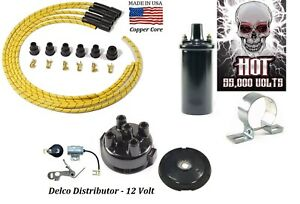 Delco Ignition Tune up kit for IH Farmall Tractors 12V Hot Coil (Yellow)
