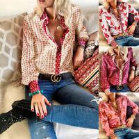 Women Silk Satin Long Sleeve Blouse Ladies Office OL Work Print Shirt Tops 6-12