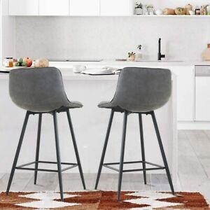 Set of 2 Modern Pub Chairs Bar Stools Counter Height Faux Leather Kitchen Dining