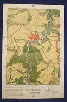Original Karte Zschopau und Umgebung um 1930 Sachsen Geografie Geographie sf