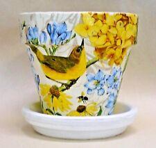 Made To Order, Handmade Decoupage Indoor Flower Pot, Yellow Hydranges, Birds