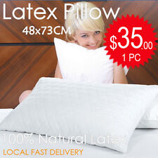 1x 100% Natural Latex Comfort Cloud Soft Standard Pillow Anti-microbial -48x73cm