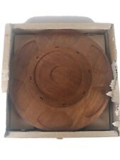 "Vintage Lazy Susan Rotating Tray Wood Glass Dish Sticks Fondue Holder 16"" Japan"